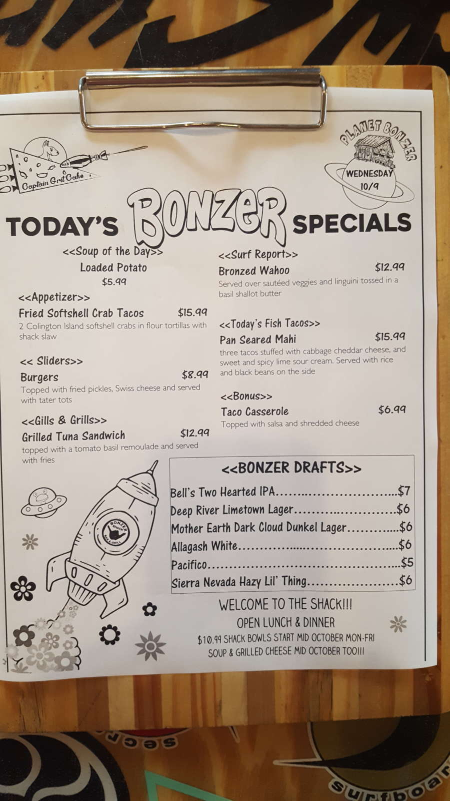 Lunch Specials 10/9