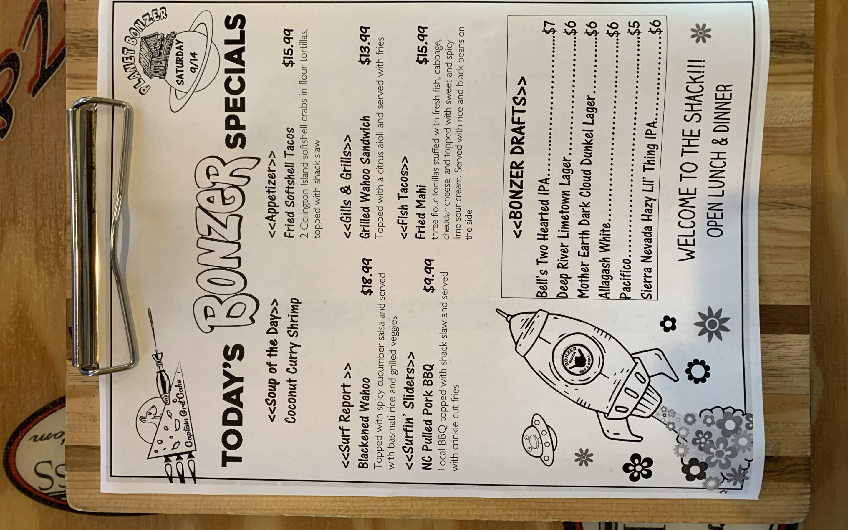 LUNCH SPECIALS 9/14